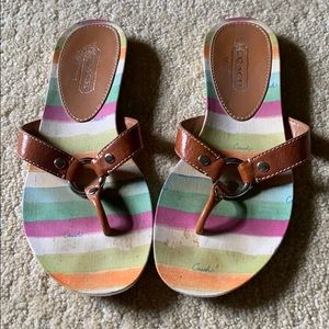Multi color striped brown leather flip flops